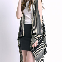 Geometric Print Asymmetrical Sleeveless Sweater Vest