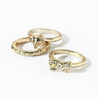 Princess Vera Wang Gold Tone Simulated Crystal Stack Ring Set