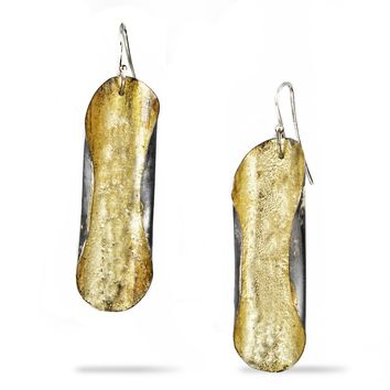 Oval Gold Leaf Dangle Earrings