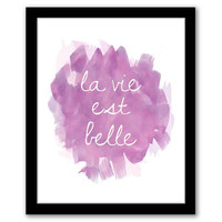 La Vie Est Belle, Pink Watercolor, Wall Art, Home Decor, Watercolor Art, Typography, Inspirational Quote, Printable Art, INSTANT DOWNLOAD