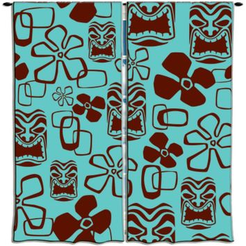 Surfer Bedding Aqua and Brown Hawaiian Tikis Curtains
