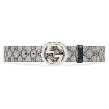 Genuine Gucci GG Supreme belt with G buckle