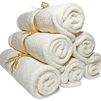 """Baby Washcloths Bamboo, Organic, Luxury (6pack 10.6"""") Best for Reusable Baby Wipes, Cloth Wipes, Eczema & Sensitive Skin. Baby Registry, Shower, Newborn Bath Gifts, Natural Products, Skin Care"""
