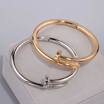 ac spbest High Quality Charming Gold Colour Women Cuff Nail Bangles Simple Style Elegant Metal Bracelet & Bangle For Women Accessories S17