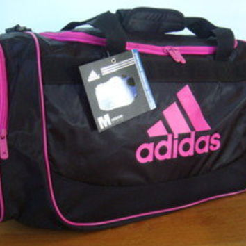 ADIDAS DEFENSE MEDIUM  DUFFLE/MALETIN/GYM/SPORTS/TOTE/TRAVEL BAG BLACK/PINK NWT