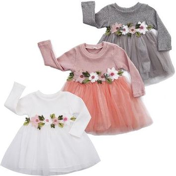 Helen115 Lovely Kid baby girl clothes Princess Flower Full Sleeve Ball Gown Dresses 3M-3Y