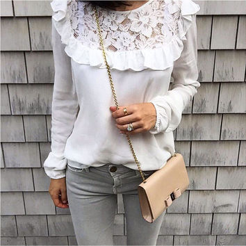 White Ruffled Lace Paneled Blouse
