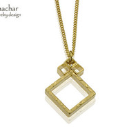 4 Squares Necklace, Gold Geometric Necklace, Gift for her By Timor Shachar