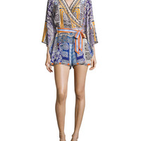 Camilla Belted Kimono-Sleeve Silk Playsuit, Multicolor