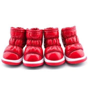 Red Quilted Waterproof Dog Snow Boots Pet Shoes