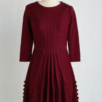 Mid-length 3 A-line Warm Cider Dress in Burgundy