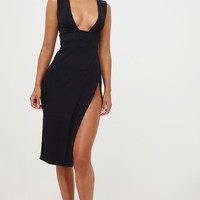 Black Ribbed Bandage Plunge Extreme Split Midi Dress