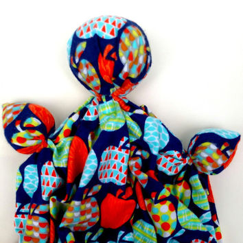 "Baby Soother Toy- Unique Baby Gift - Soft Cloth Doll - Cotton Flannel Fabric - Apple Print on Navy for Back to School - 11"" - 12"" Tall"