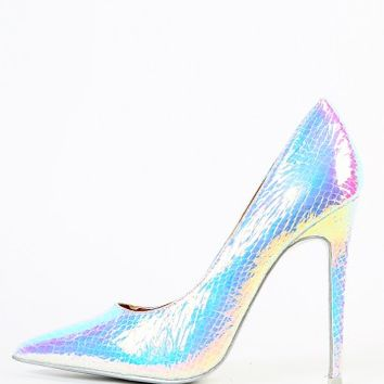 Pointy Toe Hologram Snake Pumps | MakeMeChic.com