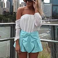 BOW SHORTS , DRESSES, TOPS, BOTTOMS, JACKETS & JUMPERS, ACCESSORIES, 50% OFF SALE, PRE ORDER, NEW ARRIVALS, PLAYSUIT, COLOUR, GIFT VOUCHER,,SHORTS,Blue Australia, Queensland, Brisbane