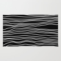 Black and White Striped Rug - Room Rug - Throw Rug - Made to Order
