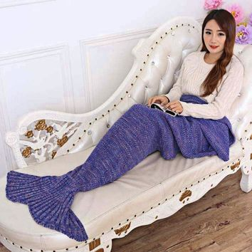 7 Colors Yarn Knitted Mermaid Tail Blanket