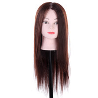 Dummy Head Mannequin Brown Synthetic Hair with Clamp Training Set