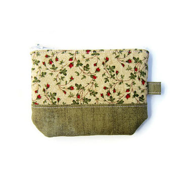 Mini zipper pouch/ small credit card holder/ gift card purse/ small coin purse / mini wallet/ zipper organizer/ floral pattern & tan tone