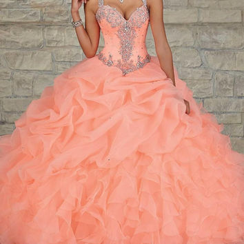 Coral Ball Gown Quinceanera Dresses Sheer Beads Crystal Draped Cheap Sweet 16 Dress Plus Size Hot Sale Prom Party Gowns 2016