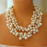 Wedding Statement Necklace Ivory Pearls and rhinestone necklace
