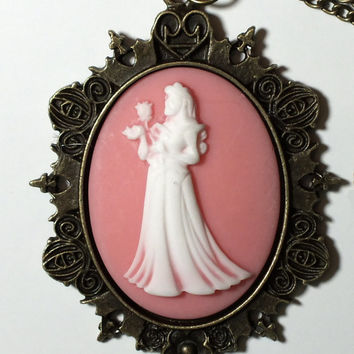 Victorian Cameo Necklace Pendant Sleeping Beauty Aurora Disney Princess Carriage Setting