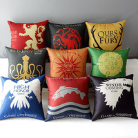 "18"" Square Game of Thrones Cotton Linen  Cushion Cover Sofa Decorative Throw Pillow  Home Chair Car Seat Pillow Case almofadas"