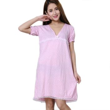 Women Nightgowns 100% Cotton 2017 New Summer and Autumn Female Sleepshirt Thin Nightdress Cheap Lounge Blue Yellow Pink