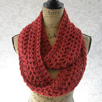 SALE Infinity Scarf Spice Red Dark Red Cranberry Fall Winter Women's Accessory Infinity
