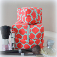 Coral and Mint Mommy and Me Makeup Bag Set- Monogram Available