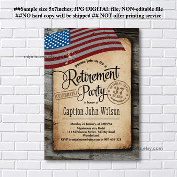 Military Retirement Party, Army Retirement Invitations, Army party, Retirement party Invitation, Retirement Celebration - card 1121