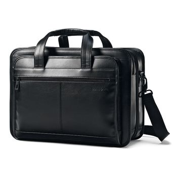 Samsonite Luggage, Classic Expandable Leather 15.6-in. Laptop Briefcase (Black)