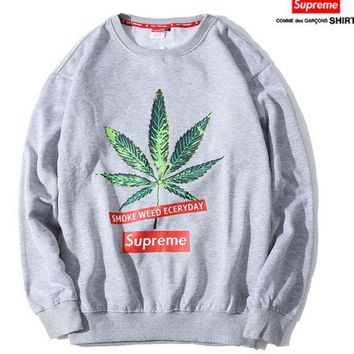 PEAPDQ7 The New Supreme Maple Leaf Printed Unisex Round Neck Sweater Pullover