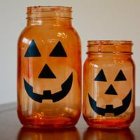 Halloween Decor, Fall Decor, Fall Mason Jar, Jack O Lantern, Halloween Mason Jar, Pumpkin Mason Jar, Pumpkin Decor, Set of Two Jars