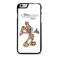 White Walt Disney case Quote case Mickey Mouse case Character Montage Iphone 6 plus Case