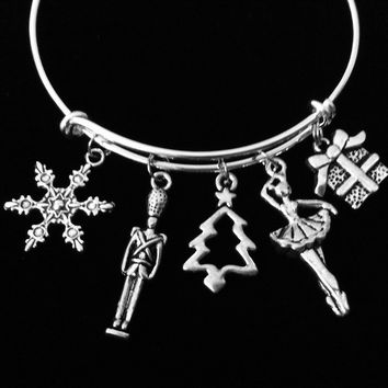 Christmas Ballet Ballerina Nutcracker Adjustable Bracelet Expandable Charm Bracelet Christmas Bangle Gift 2017 Trendy Christmas Jewelry