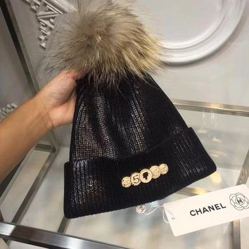 CHANEL Women Fashion Plated Wool Beanies Winter Hat Cap