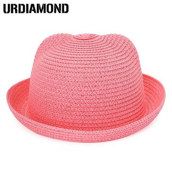 Cute Baby Girl Straw Hat Ear Summer Bucket Hat For Children Solid Color Boy Beach Hats Summer Beach Sun Cap For Kids