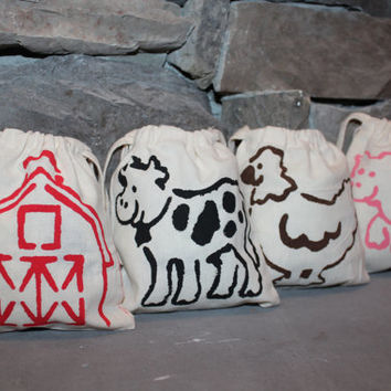 Set of 4 Hand-Stenciled Farm Animals Gift or Party Favor Bags Cotton Muslin 5 x 6 Barn, Cow, Pig & Chicken