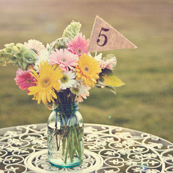Burlap Table Numbers, table number pennants, wedding, party