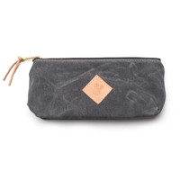 LARGE WAXED CANVAS POUCH (CHARCOAL)