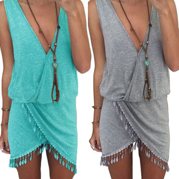Women Summer Style Beach White Mini Dress 2016 Sexy Casual Bodycon Gray Sleeveless Cotton Black Blue Dress