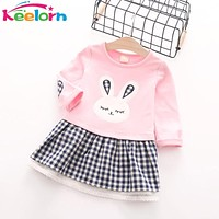 Girls Dress  Autumn Casual Style Baby Girl Clothes Long Sleeve Cartoon Bunny Print Plaid Dress for Kids Clothes