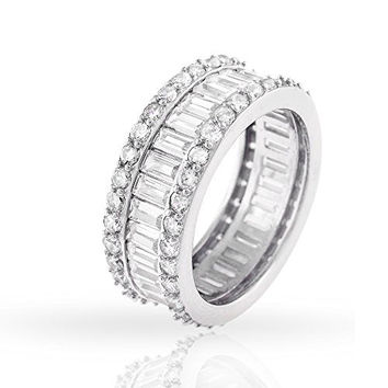 .925 Sterling Silver Womens Baguette CZ Eternity Band Rhodium Ring 5 6 7 8 9 (9)