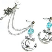 Oceanside Chain Ear Cuff Earrings Set Handmade: Jewelry: Amazon.com