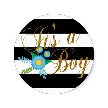 Elegant Black and White Stripes With Blue Floral Classic Round Sticker
