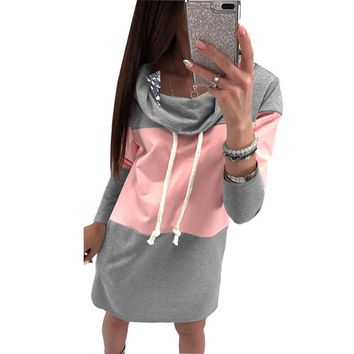 Hoodies Dress Woman Turtleneck Winter Autumn Dresses Casual Warm Femme Vestidos Spring Sweatshirts Women Dress Plus Size GV147