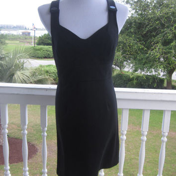 Vintage Short Black Stretch Dress, Jersey Knit Bodycon Dress, Button Straps Fitted Bodice Side Zipper, Womens Size 9, Guess