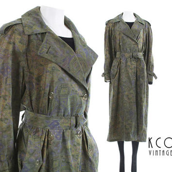"Trench Coat Women 80s Clothing Iridescent Abstract Long Oversized Coat Raincoat Jones New York Vintage Clothing Women's Size L / 44"" Bust"