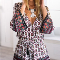 Summer Print Long Sleeve Deep V Shorts Romper [6046236737]